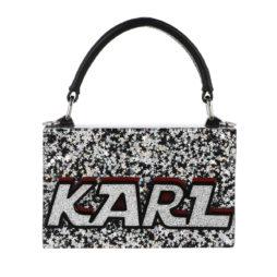 05674a3cac7e17 Karl Lagerfeld Tasche – Logo Glitter Minaudiere Stars Silver – in silber –  für Damen